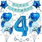 Geburtstagsdeko Jungen 4 Jahre, Luftballon 4. Geburtstag Junge Deko, Folienballon 4, Banydoll deko 4. geburtstag junge, Riesen Folienballon 4 Blau, Geburtstagsdeko 4 Jahre Junge Blau