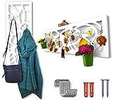 harvestcomfort Garderobenpaneel - Wanddeko [112cm*35cm] Zusätzlicher Platz im Flur - Wandgarderobe-Paneel aus Holz Weiß Matt   Ergänzen Sie noch Heute Ihre Garderobe-Möbeln im F