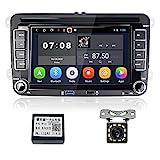 Android Autoradio für VW Golf Polo Passat, Hikity Bluetooth Autoradio mit Navigation GPS 7 Zoll Touchscreen FM Radio Empfänger Unterstützt WiFi Mirror Link USB SD + Canbus