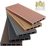 AISER Royal WPC Terrassen-Dielen 2-50 m² [Größenauswahl] Steingrau/Anthrazit/Coffee/Zeder [Farbauswahl] Boden-Dielen Komplettset inkl. Unterkonstruktion und Zubehö