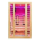 Home Deluxe – Infrarotkabine – Redsun M Deluxe – Vollspektrumstrahler und Karbon-Flächenstrahler – Holz: Hemlocktanne - Maße: 120 x 105 x 190 cm – inkl. vielen Extras und komplettem Zubehör