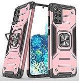 KKPAI Kompatibel mit Samsung Galaxy S20 Plus, 360 ° drehbarer Ring-Ständer, robust, stoßfest, stoßfest, schützend, schlank, robust, kratzfest, leicht zu greifende Schutzhülle – Roségold