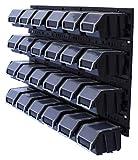 26 TLG. Wandregal Lagerregal Stapelboxen mit Deckel Lagersystem Regalsystem Sichtlagerbox