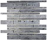 Mosaik Fliese Schiefer Naturstein schwarz Brick Schiefer für WAND BAD WC DUSCHE KÜCHE FLIESENSPIEGEL THEKENVERKLEIDUNG BADEWANNENVERKLEIDUNG Mosaikmatte Mosaikp