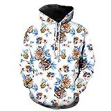 XWLY Hoodie Herren Bedrucken/Tarnung Stil Frühling Und Herbst Lässig Oversize Sweatshirt Mode Komfortabel All-Match Pullovers Mit Taschen Und Kordelzug -White 4XL