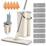 Masthome Wischmopp Set mit Eimer,2 in 1 Flach-Mopp und Putzeimer mit 120cm Stiel Edelstahl,Wischer Set mit 8 Mikrofaser Pads Wischsystem für Bodenreinigung