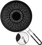 Baker Boutique Premium Silikon Spritzschutz mit klappbarem Griff, hitzebeständige Pfannen-Abdeckung/Sieb, schützt die Haut vor Verbrennungen – Spritzschutz zum Kochen und Braten 29,5 cm Schwarz