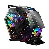 lingyun Speziell geformtes M-ATX/ATX/ITX-Gaming-Gehäuse Computergehäuseseite Transparentes Glas-PC-Gehäuse mit großem Board und integriertem Streamer RGB Integriertes wassergekühltes 240 mm
