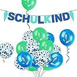 iZoeL Deko Einschulung Jungen Blau Schulkind Girlanden Filz + 15 Luftballon Schulanfang Dekoration Schuleinführung + Ballonbänder (Blau)