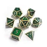 Starter Metall Würfelspiel 7-teilig, Rollenspiel aus Metall, innovatives Würfelspiel für Dongons und Dragons, Würfelspiel RPG, D & D, Mathematikunterricht grün