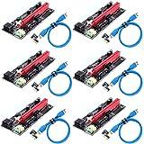 Ziyituod PCIe Riser, VER009S GPU Riser Express Kits 16X bis 1X (Dual 6PIN / MOLEX) mit LED-Grafikerweiterung, GPU Riser - Ethereum Mining ETH, 60 cm USB 3.0-Kabel (6PCS)