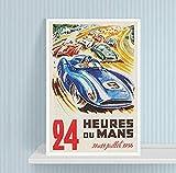 JLFDHR Leinwanddruck 50x70cm KEIN Rahmen Le Mans 24-Stunden-Rennen Vintage Automobile Race Poster Prints 1956 Sportwagenrennen Frankreich Wall Art Boys Room Decor