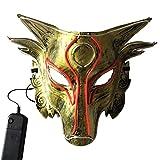 AMOSFUN Halloween-Maske mit gruseliger Wolfsmaske für Halloween, zum Aufleuchten von Cosplay, Tiermaske, Zubehör (ohne Batterie)