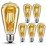 Edison Vintage Glühbirne E27, LED Vintage Glühbirne Warmweiß LED Lampen, Vintage Antike Glühbirne E27 6W (ersetzt 60W),Retro glühbirne Ideal für Nostalgie und Retro Beleuchtung, 6 Stück