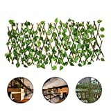 WMNRNYD Garten Streikposten Zaun mit Faux Ivy Hedge Leaf, DIY dekorative versenkbare Landschaft Holz Streikposten Fechten für Hausgarten Cafe,70cm (After Merge)