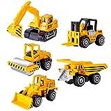 HERSITY Mini Bagger LKW Baufahrzeuge Spielzeug Set Metall Baustellen Fahrzeuge Spielzeugautos Deko für Kinder Jungen 3 Jahre, 5 Pcs