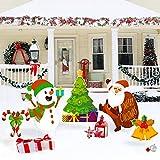 WATINC Set mit 5 Weihnachtsschildern, Weihnachtsmann, Schneemann, Glöckchen, Weihnachtsbaum, Weihnachtsstangen, Winterferien, wasserdicht, einseitig