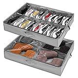Unterbett-Kommode für Schuhe Aufbewahrung 2 Stück, Schuh Aufbewahrungssysteme mit 16+4 Fächern, Unterbett Schuh Organisierer Aufbewahrungsbox Schublade, Faltbare Schuhaufbewahrung Stasche mit Deckel