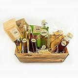 Präsentkorb Hallo Isabel! Empfehlungskorb, gefüllt mit unterschiedlichen Delikatessen für Gourmets & Feinschmecker oder ideal zum verschenken, geschenkfertig verpackt