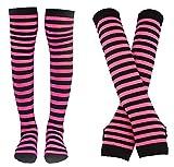 Bienvenu Damen Socken, gestreift, kniehoch, Armwärmer, fingerlose Handschuhe, Set - Pink - Einheitsgröße