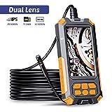 ILIHOME Dual-Kameras Endoskopkamera, Doppelkamera Dual Lens 4,5 Zoll IPS Bildschirm Endoskop, 8 Einstellbaren LED-Licht Inspektionskamera, 5 Meter Kabel Rohrkamera, 3500mAh Akku, 32GB TF