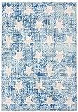 Carpeto Rugs Sternchen Kinderzimmerteppich - Kurzflor Kinderteppich - Weich Teppich für Kinderzimmer - ÖKO-TEX Wohnzimmerteppich - Teppiche - Blau Türkis - 80 x 150 cm