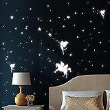 Wandtattoo-Loft Leuchtaufkleber DREI Elfen mit Einhorn, Sterne und Punkt - Leuchtende Sticker für einen tollen S