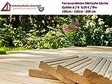 7€/lfm Terrassendiele sibirische Lärche Massivholz Gartenholz Terrassenholz Naturholzdielen Massivdiele (grob, 100)