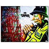 N/A Leinwanddruck, Dekoration, Posterdruck, Street Satirical Pop Art, Police Man Graffiti, abstraktes Gemälde auf Leinwand, Wandbild für Wohnzimmer, HD-Druck, rahmenlos, 60 cm x 80 cm