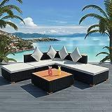6er-Set Lounge Set Gartenmöbel-Set, Sitzgruppe Lounge mit Sofa Beistelltisch und Hocker Gartensofa Sitzgarnitur Gartenmöbe Loungel für Garten Balkon Terrasse