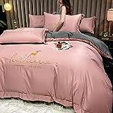Bedding-LZ BettwäSche 4 Teilig,Silber-Vierteiliges Doppelseitiges Wasser Wird Gewaschen, Seide, Leichte Luxusstickerei, Einfache BettwäSche-E_1,5m Bett (4 StüCk)