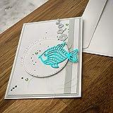 Personalisierte Glückwunschkarte mit einem Fisch Taufkarte Kommunionkarte Geschenk Glückwünsche zur Taufe Kommunion Konfirmation Grußkarte Designkarte mit Umschlag 15 x 10 cm Handarbeit binnbonn