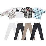 Asiv Set von 4 Plaid Kleidung Jacke Hosen Outfit Für Ken Fashionista Puppen, für Weihnachten und Geburtstag Geschenk, Mehrfarbig (Zufälliges Muster)