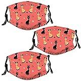 Nuberyl Gesichtsmasken für Erwachsene, Unisex, Schwarz / Gelb, Katzenmuster, Pink, 3 Stück