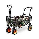 QuRRong Bollerwagen Folding Camping Wagen Garten Wagon 4 zusammenklappbarer Handwagen für Garden Beach (Farbe : As Shown, Size : 85x50cm)