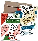 FRUITPRINTS CherryCards - 20er Set Weihnachtskarten & Umschläge - Farbenfrohe Weihnacht - Klappkarten B6 Grußkartenformat (GLATT)