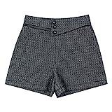 Mode Karierte Wollshorts, koreanische Version der großen A-Linie lose hohe Taille breite Bein Außenstiefel Hosen L grau