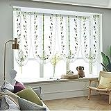 HOOJUEAN Raffrollo Blumen Raffgardine Transparent Gardine Vorhang Schlaufenschal Deko für Wohnzimmer Schlafzimmer Studierzimmer 80 x 200cm80 x 140cm-03