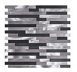 Mosaikfliese in Steinoptik, Mosaikwandfliese selbstklebende Wandverkleidung für innen (Modernes Aluminium)