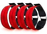 EONAZE LED leucht Armbänder, Sicherheit Reflektor Armband mit DREI Beleuchtungs modi LED Leuchtband, Lauflicht mit Reflektorband für Outdoor Sportarten (LED Knopfbatterie, 4er Rot)