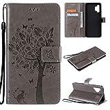 nancencen Hülle Kompatibel mit Samsung Galaxy A32 5G, Flip-Case Handytasche - Standfunktion Brieftasche und Kartenfächern - Baum und Katze - Gray