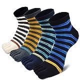 CaiDieNu Zehensocken Herren Männer Baumwoll 5 Fünf Finger Sport laufende Sneaker Socken mit zehen, 3/4/5 Paare