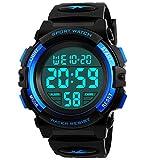 BHGWR Jungen Digitaluhren, Kinder Sport 5 ATM wasserdicht Digital Uhren mit Alarm/Timer/EL Licht, Blau Kinderuhren Outdoor Armbanduhr für Jugendliche Jung
