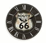Wanduhr aus Holz 29cm - Motiv: Amerika USA Route 66 schwarz - Küchenuhr Uhr römische Ziffern - Quartzuhr
