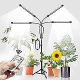 Pflanzenlampe LED mit Ständer, Volles Spektrum Pflanzenlicht, 3 Einstellbare Lichteffekte, 10-stufige Helligkeit, RF-Fernbedienung & Smart Cycle Timer 4/8/12H, Einstellbare Höhe 38cm-120cm