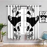 LucaSng Blickdicht Vorhang Wärmeisolierender - Schwarz Weiß Tier Panda - 280x200 cm - Junge mit Mädchen Schlafzimmer Wohnzimmer Kinderzimmer - 3D Digitaldruck mit Ösen Thermo Vorhang