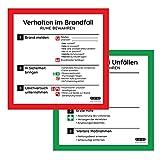 Schilder Verhalten bei Unfällen & Verhalten im Brandfall, 20 x 20 cm Aufkleber, Erste Hilfe, selbstklebend, ISO 7010, Made in Germany, witterungsbeständig, hochauflösender Druck, Sticker, Schilder-Set