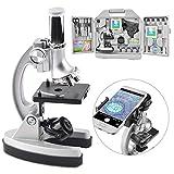 DoubleSun Mikroskop für Kinder, Studenten, Anfänger, mit LED-100X/600X/900X Vergrößerung, inkl. Telefonadapter, Zubehörset Mc-003