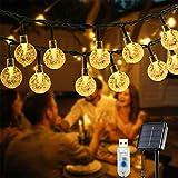Solar Lichterkette Aussen, OxyLED 59 Ft 100 LED Lichterkette Außen Solar Kristall Kugeln wasserdicht solar / USB-Steckernetzteil Lichter Beleuchtung 8 Modi für Garden, Balkon, Party, T