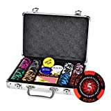 LJ Komplettes Poker-Set mit 200/300/500 Chips, 2 Pokerset, 1 Händler-Chip, 5 Würfel, Big Blind, Little Blind, Kasino Pokerkoffer Aluminium, Poker Komplett Set